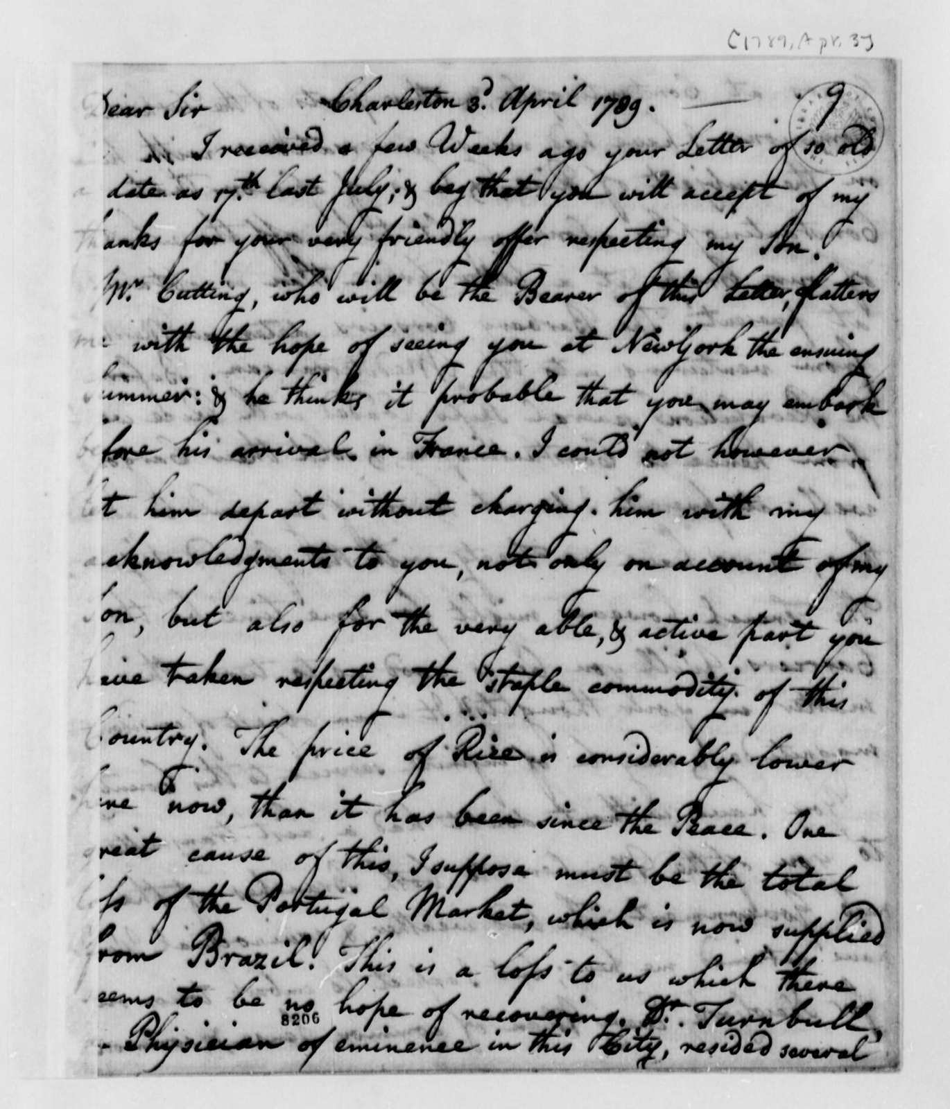 Ralph Izard to Thomas Jefferson, April 3, 1789