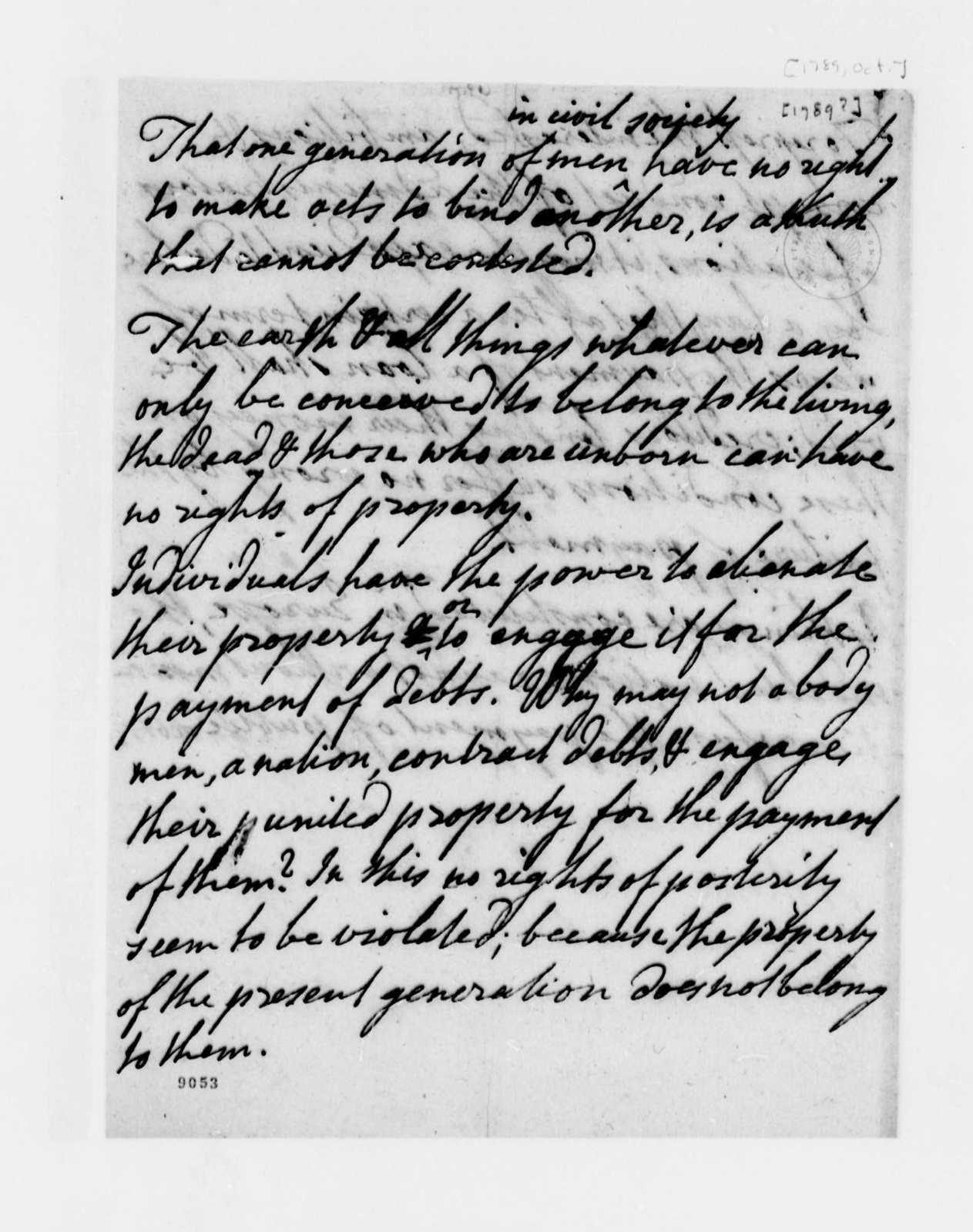 Richard Gem to Thomas Jefferson, October 1789