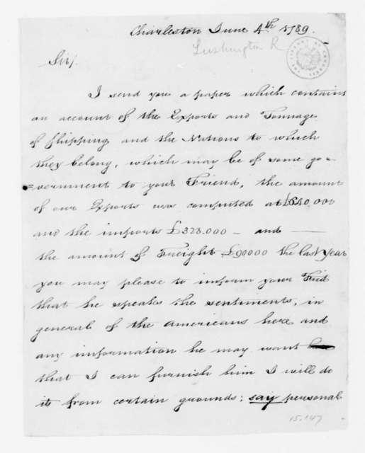 R[ichard?] Lushington to Samuel House, June 4, 1789.