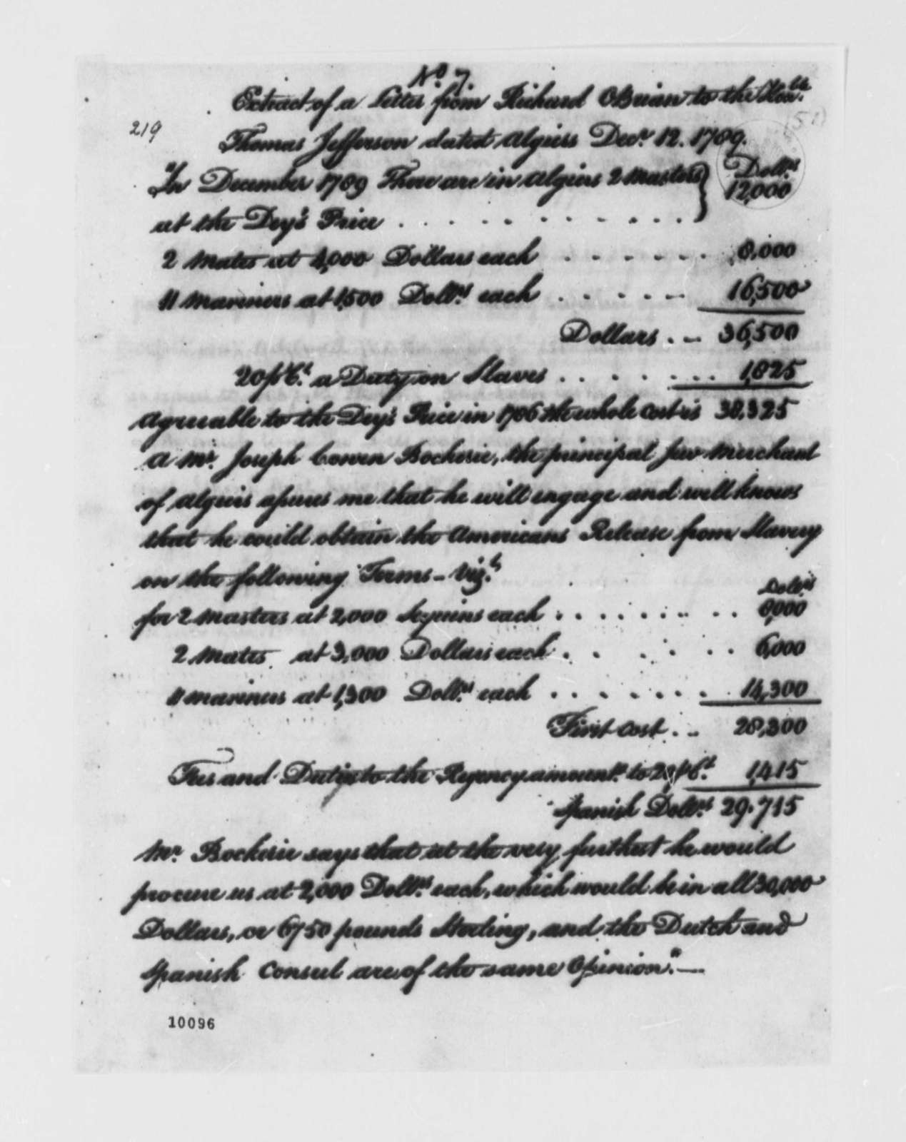 Richard O'Brien to Thomas Jefferson, December 12, 1789, Extract