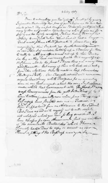 Richard Peters to James Madison, August 21, 1789. [Draft].