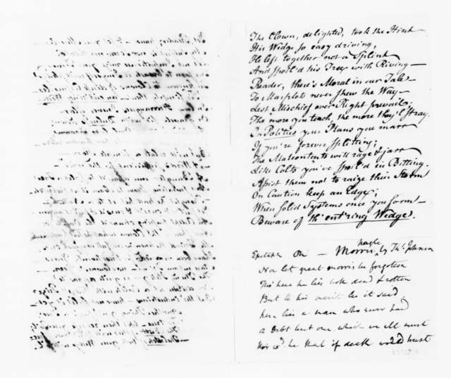 Richard Peters to James Madison, August 24, 1789. with Poem and Enclosures.