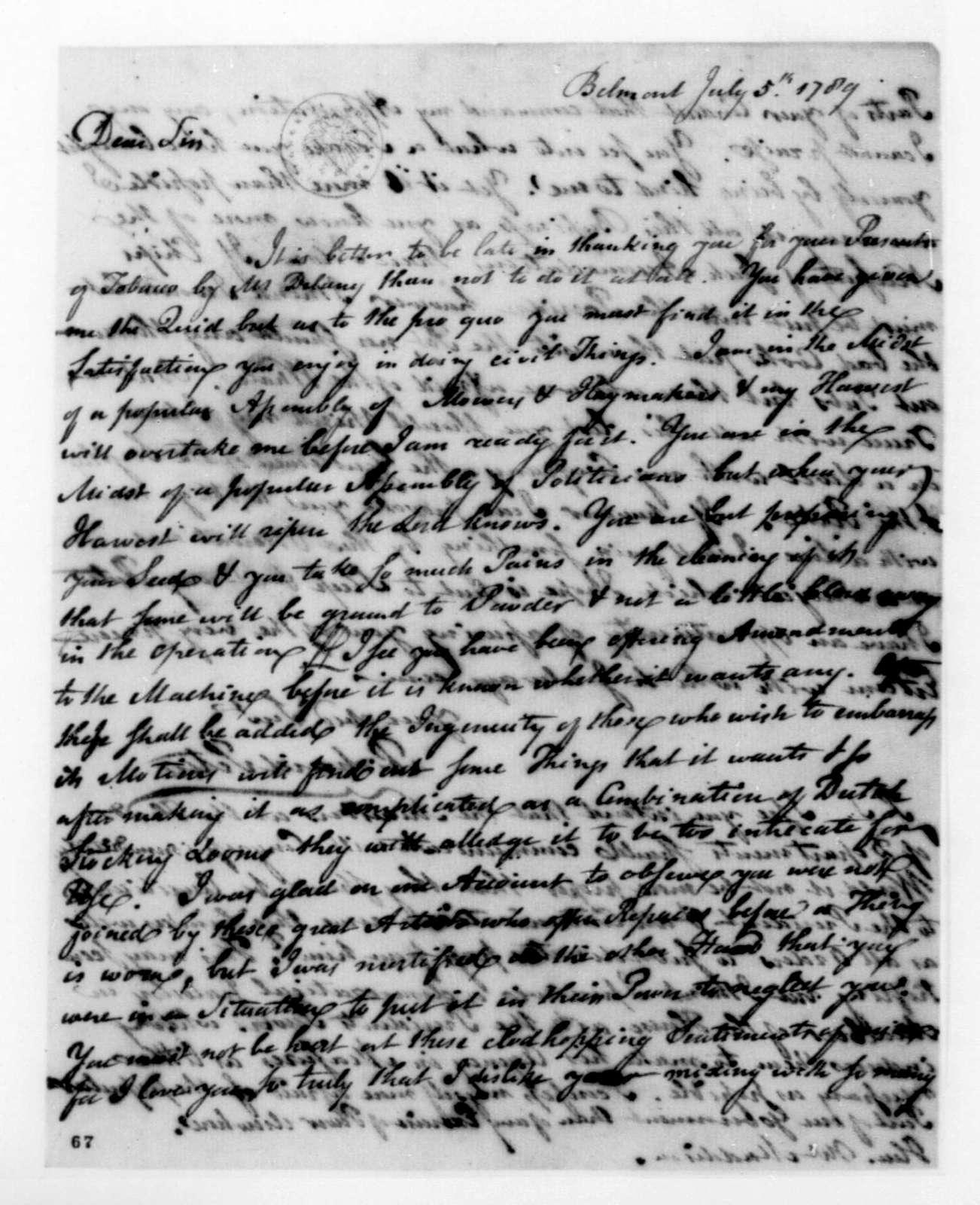 Richard Peters to James Madison, July 5, 1789.
