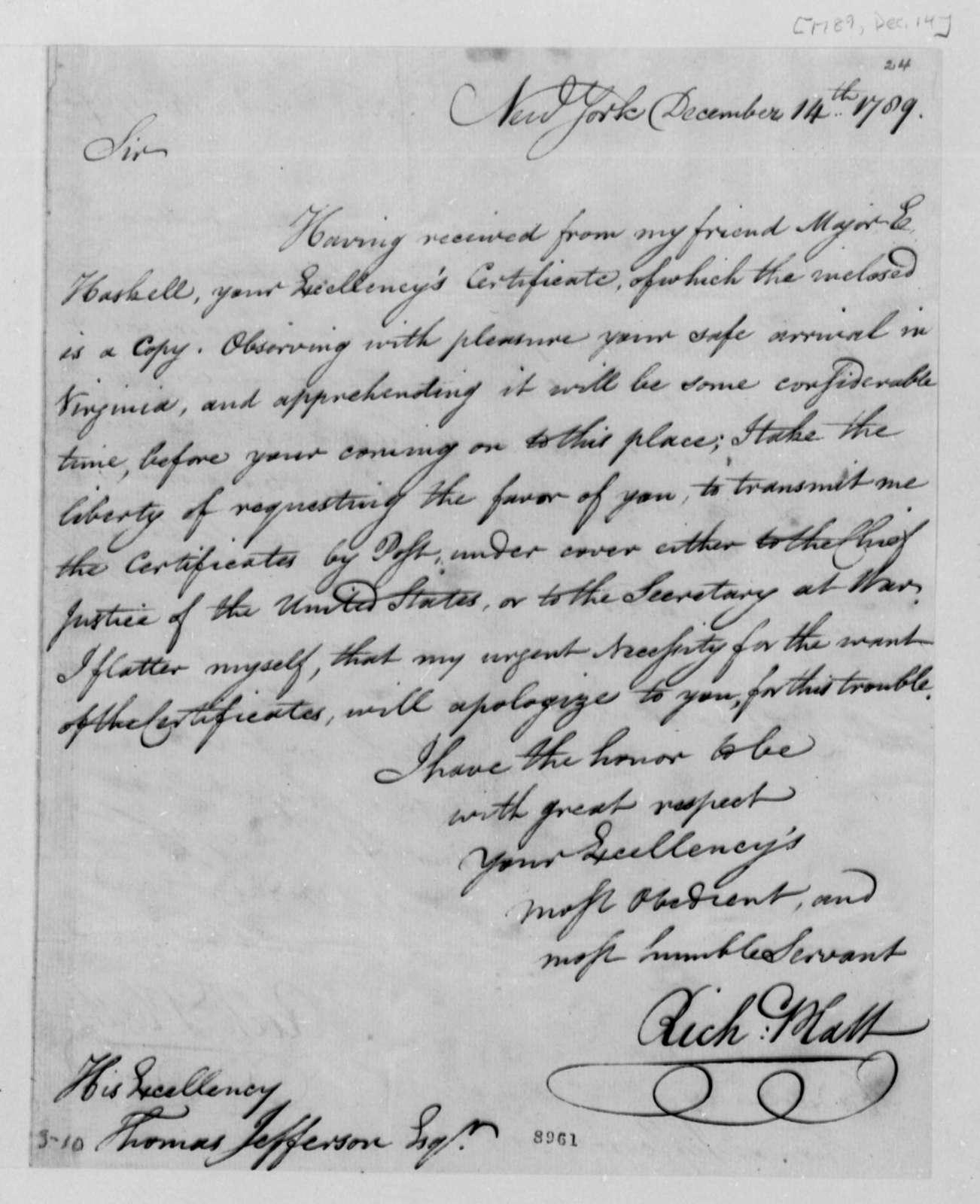 Richard Platt to Thomas Jefferson, December 14, 1789
