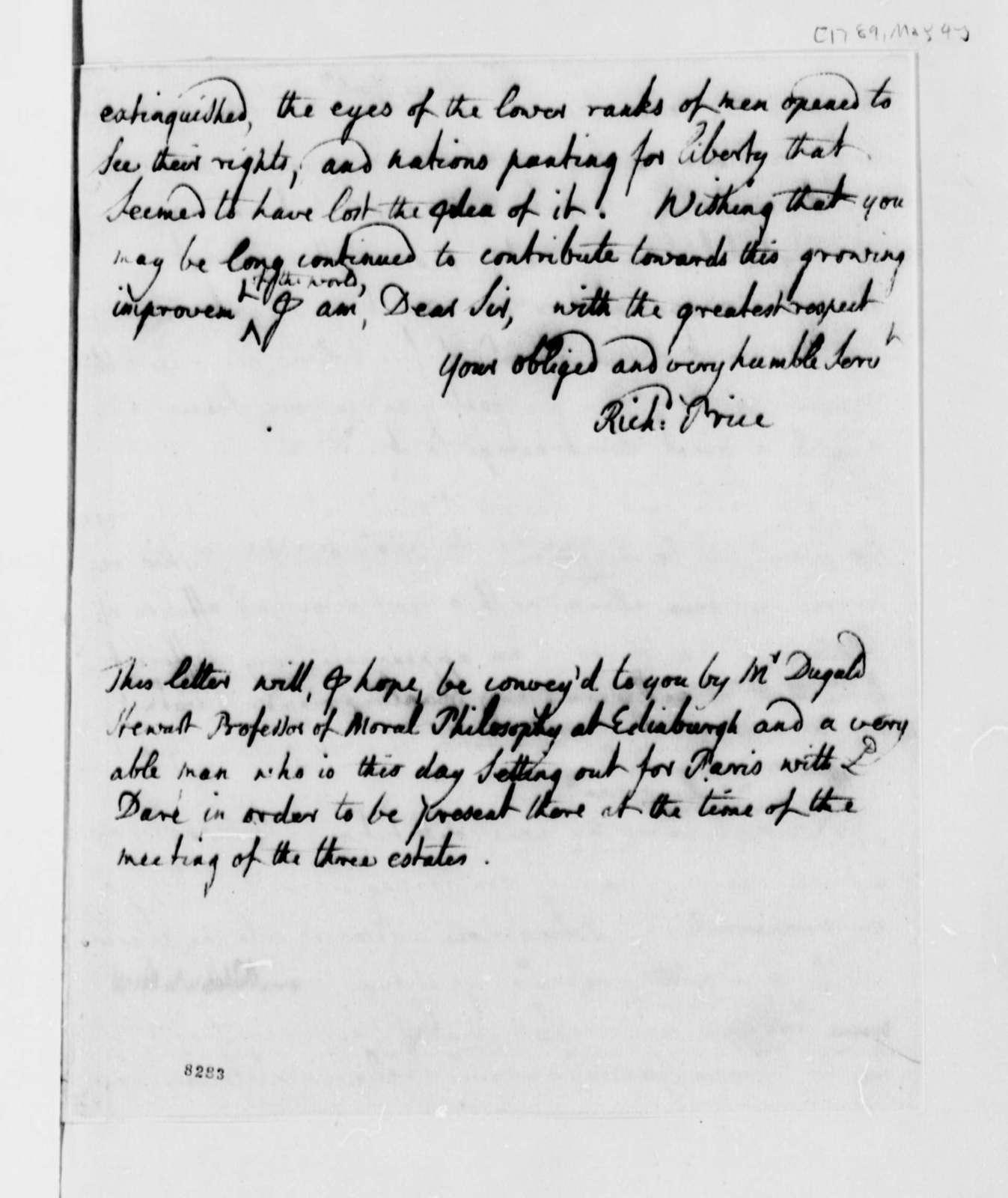 Richard Price to Thomas Jefferson, May 4, 1789