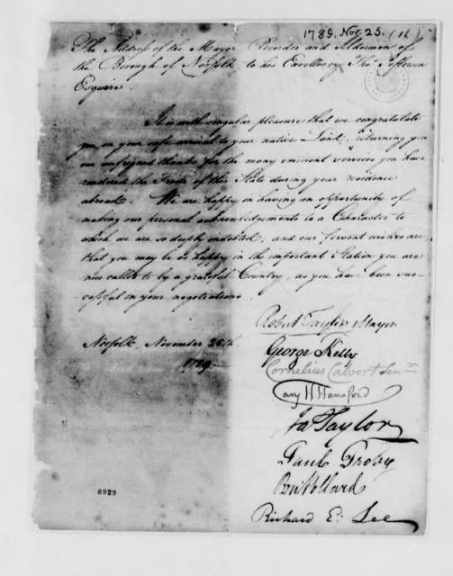 Robert Taylor, Mayor, and the Recorder and Aldermen of the Borough of Norfolk to Thomas Jefferson, November 25, 1789