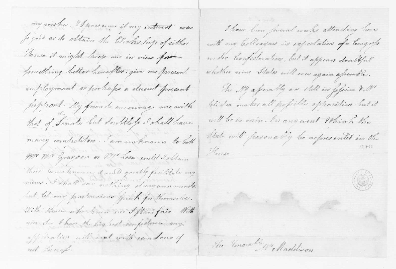 Samuel A. Otis to James Madison, February 4, 1789.
