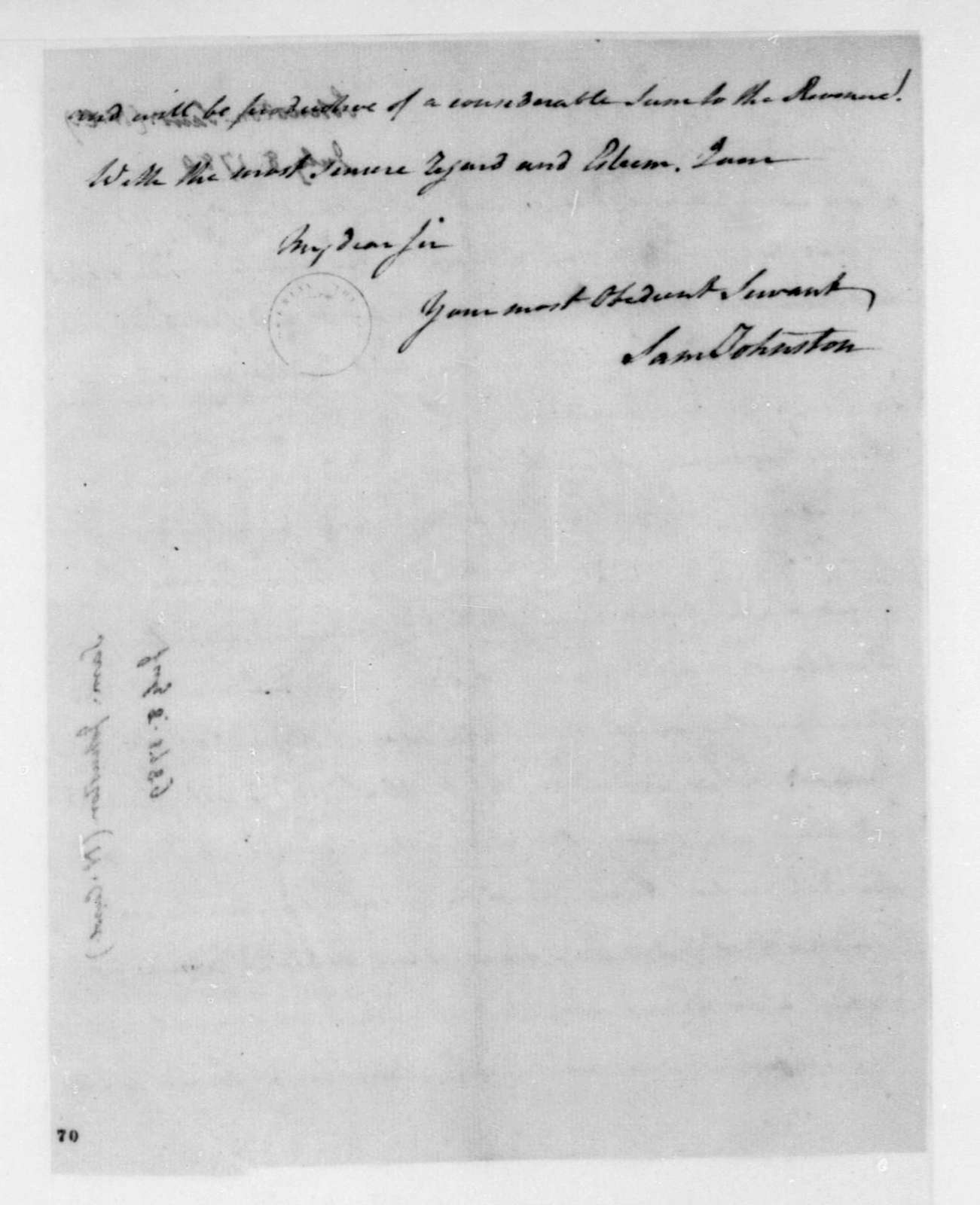 Samuel Johnston to James Madison, July 8, 1789.