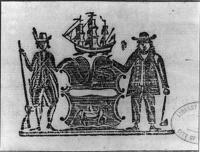 [Soldier with musket and farmer with hoe holding crest topped with sailing ship]