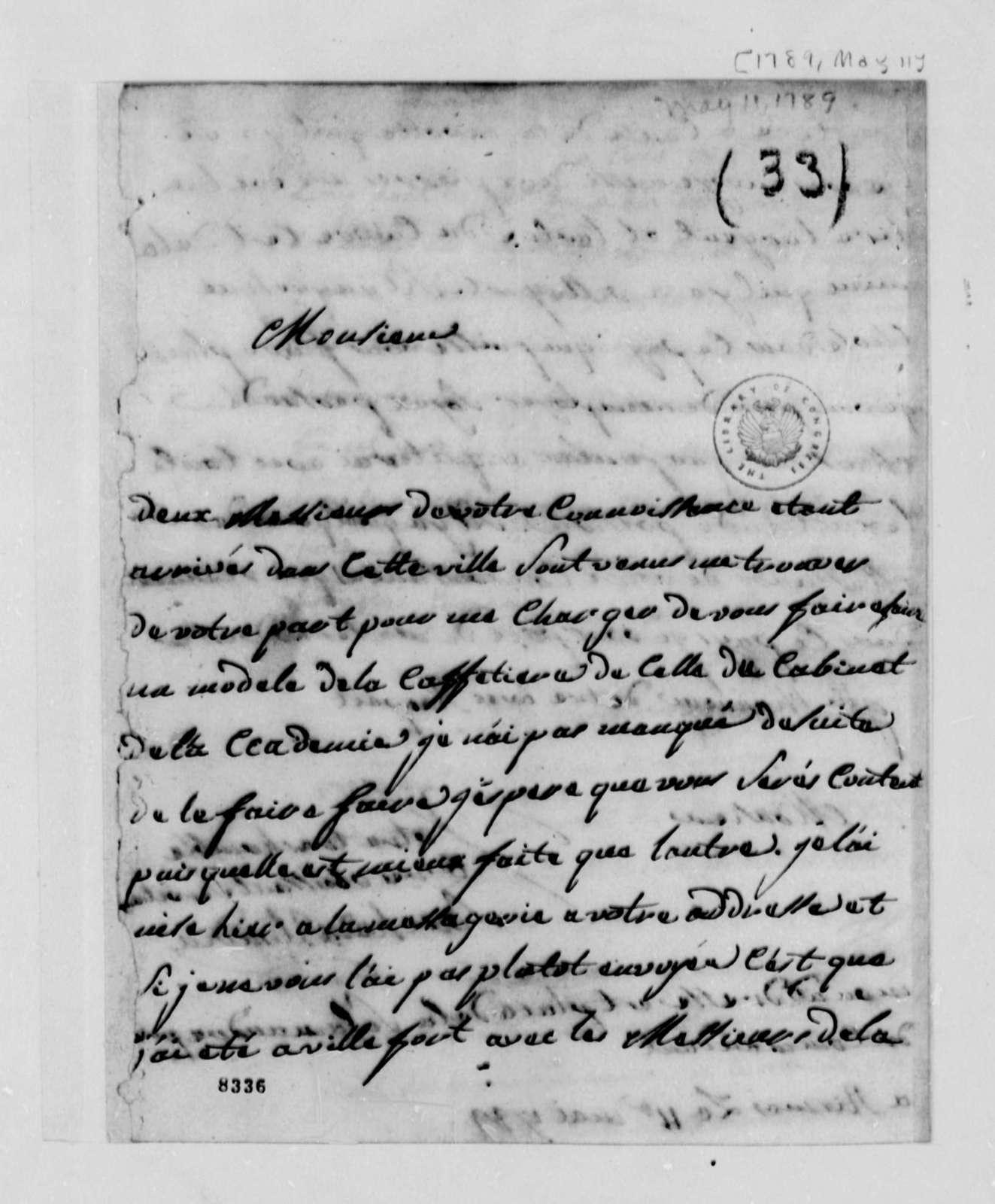 Souche de Blondin to Thomas Jefferson, May 11, 1789