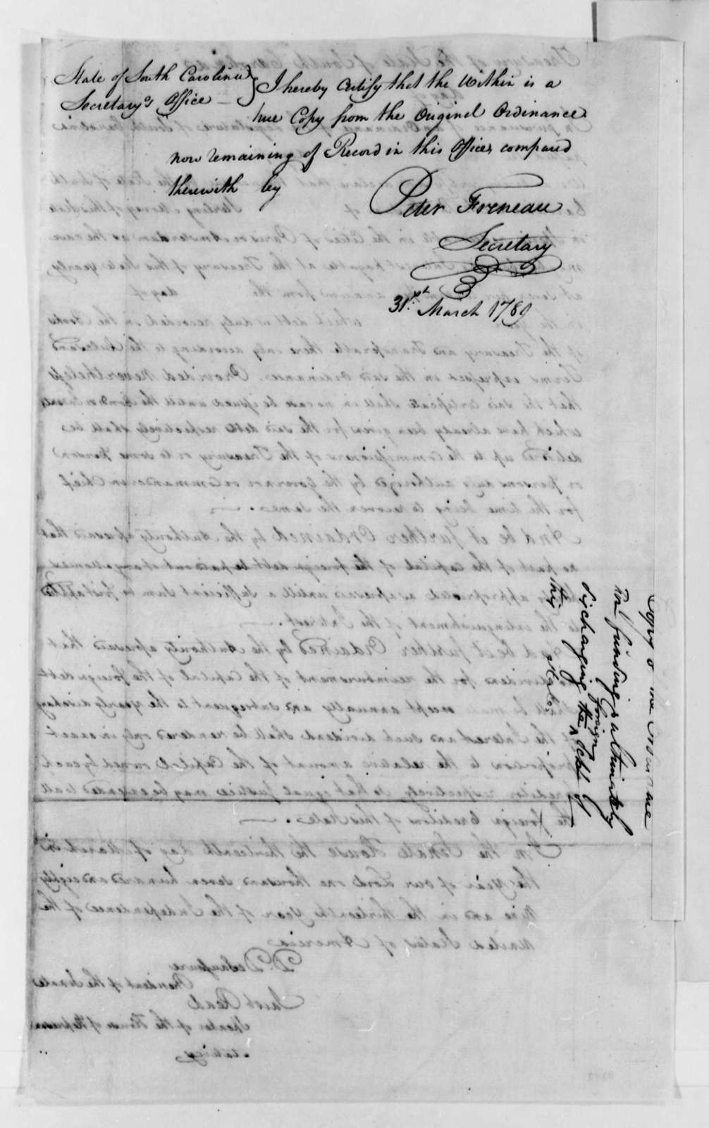 South Carolina General Assembly, March 31, 1789, Ordinance for Funding the Discharging the State Debt