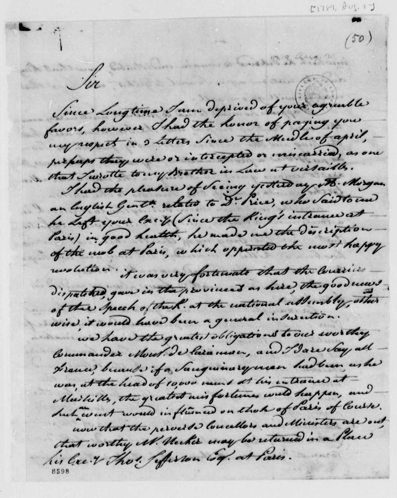 Stephen Cathalan, Jr. to Thomas Jefferson, August 2, 1789
