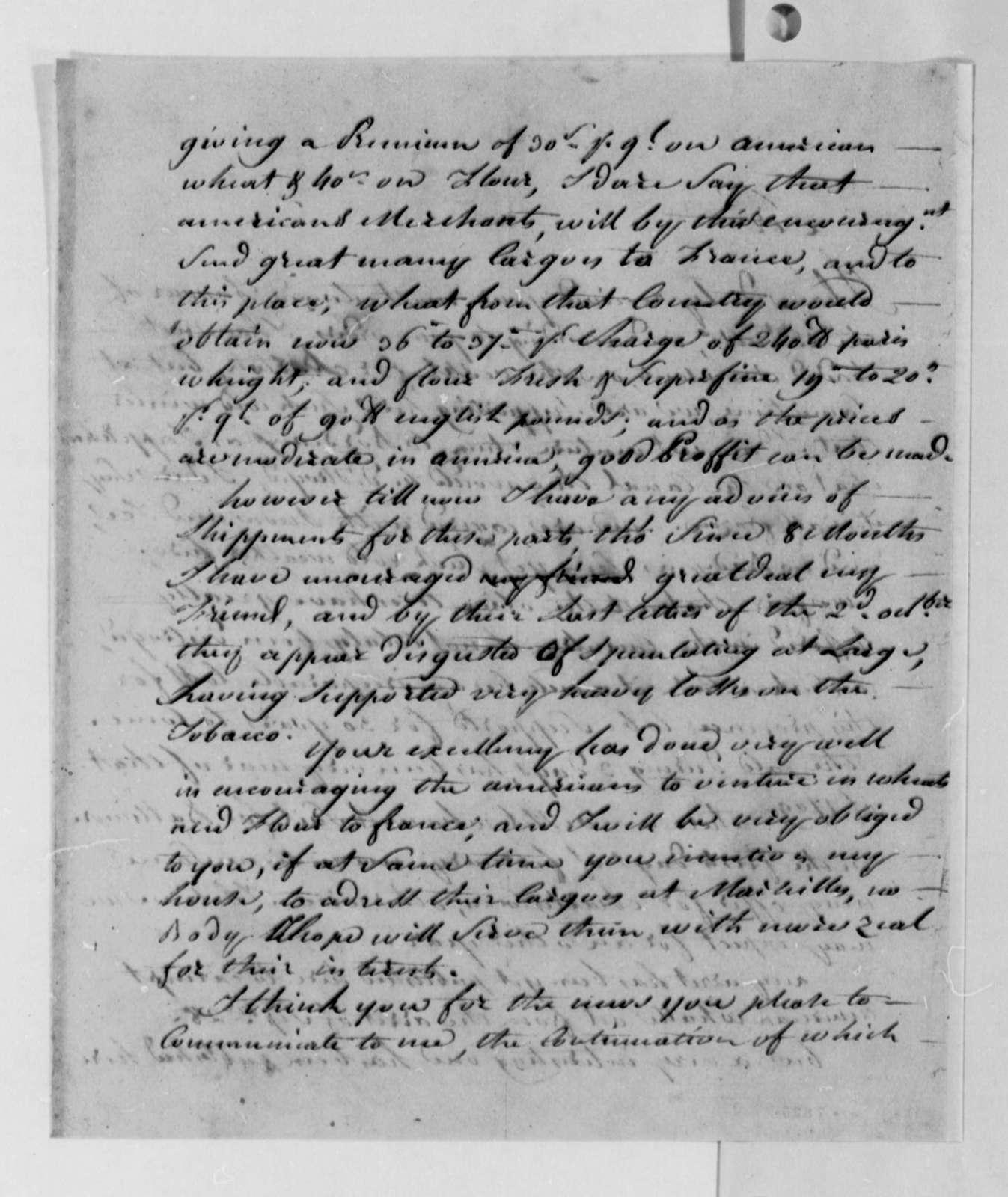 Stephen Cathalan Jr. to Thomas Jefferson, January 1, 1789