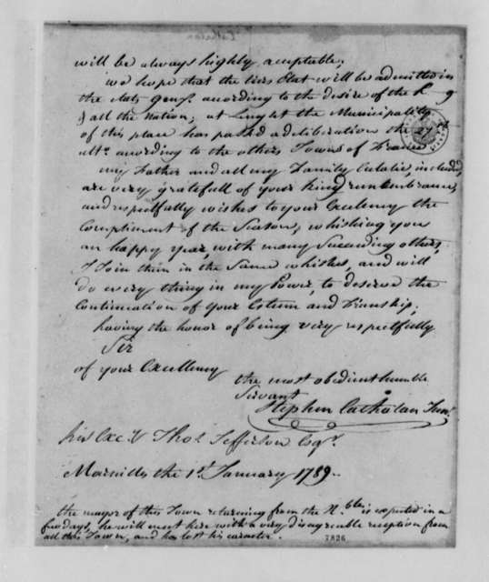 Stephen Cathalan Jr. to Thomas Jefferson, January 1, 1789