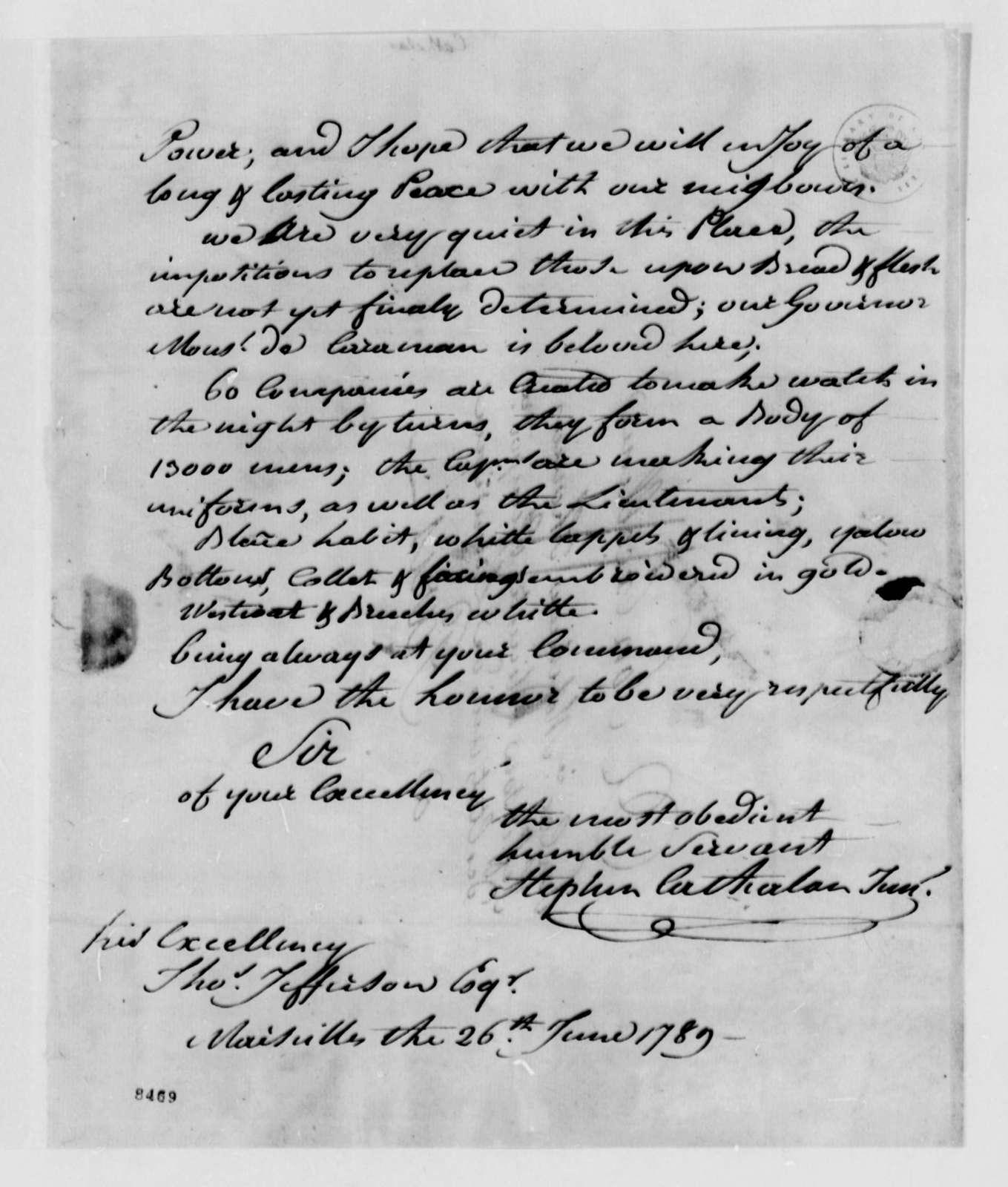 Stephen Cathalan, Jr. to Thomas Jefferson, June 26, 1789