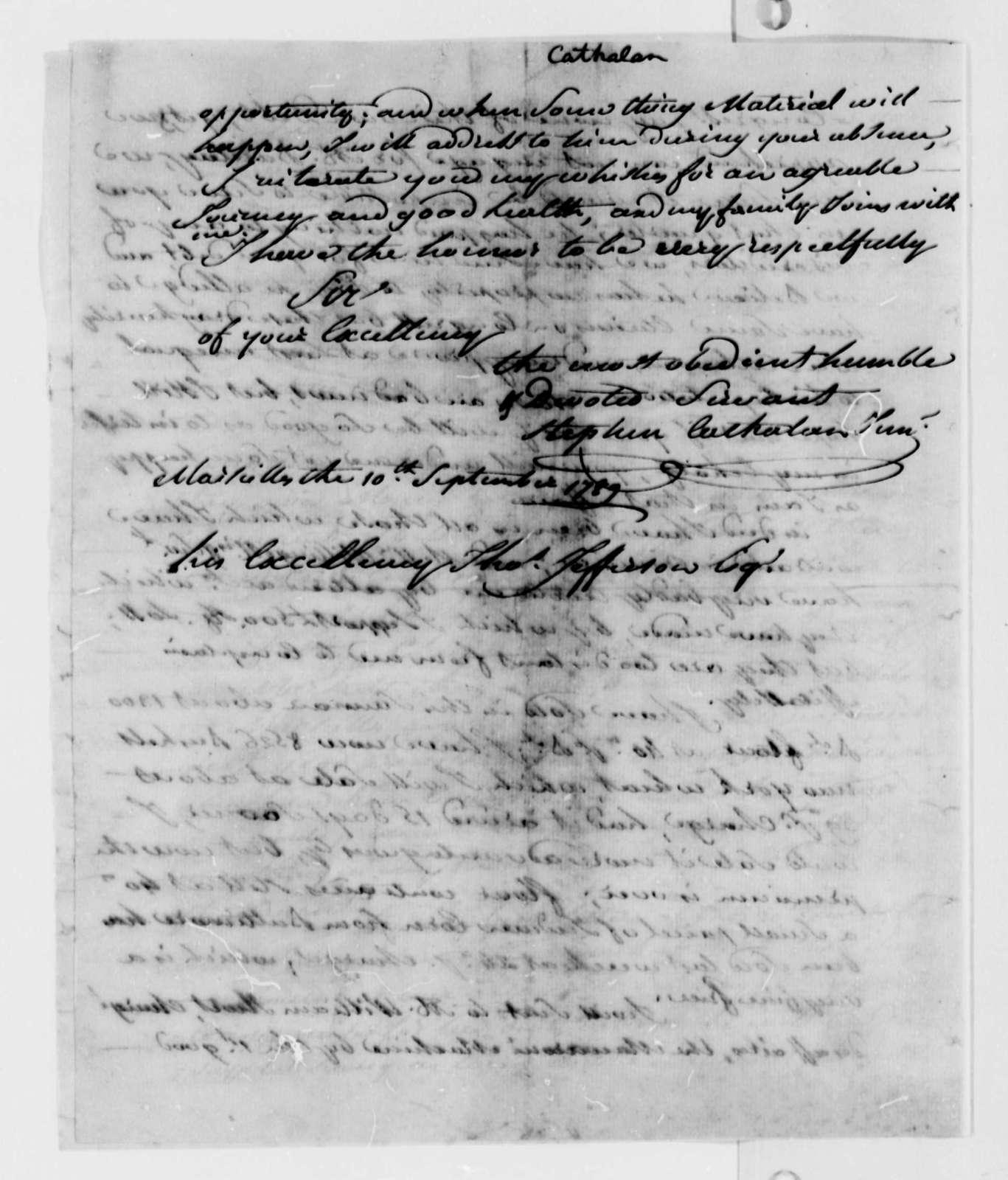 Stephen Cathalan, Jr. to Thomas Jefferson, September 10, 1789