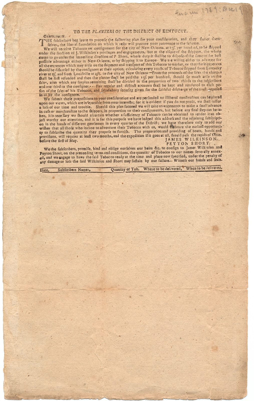 Subscription of tobacco shipments to New Orleans