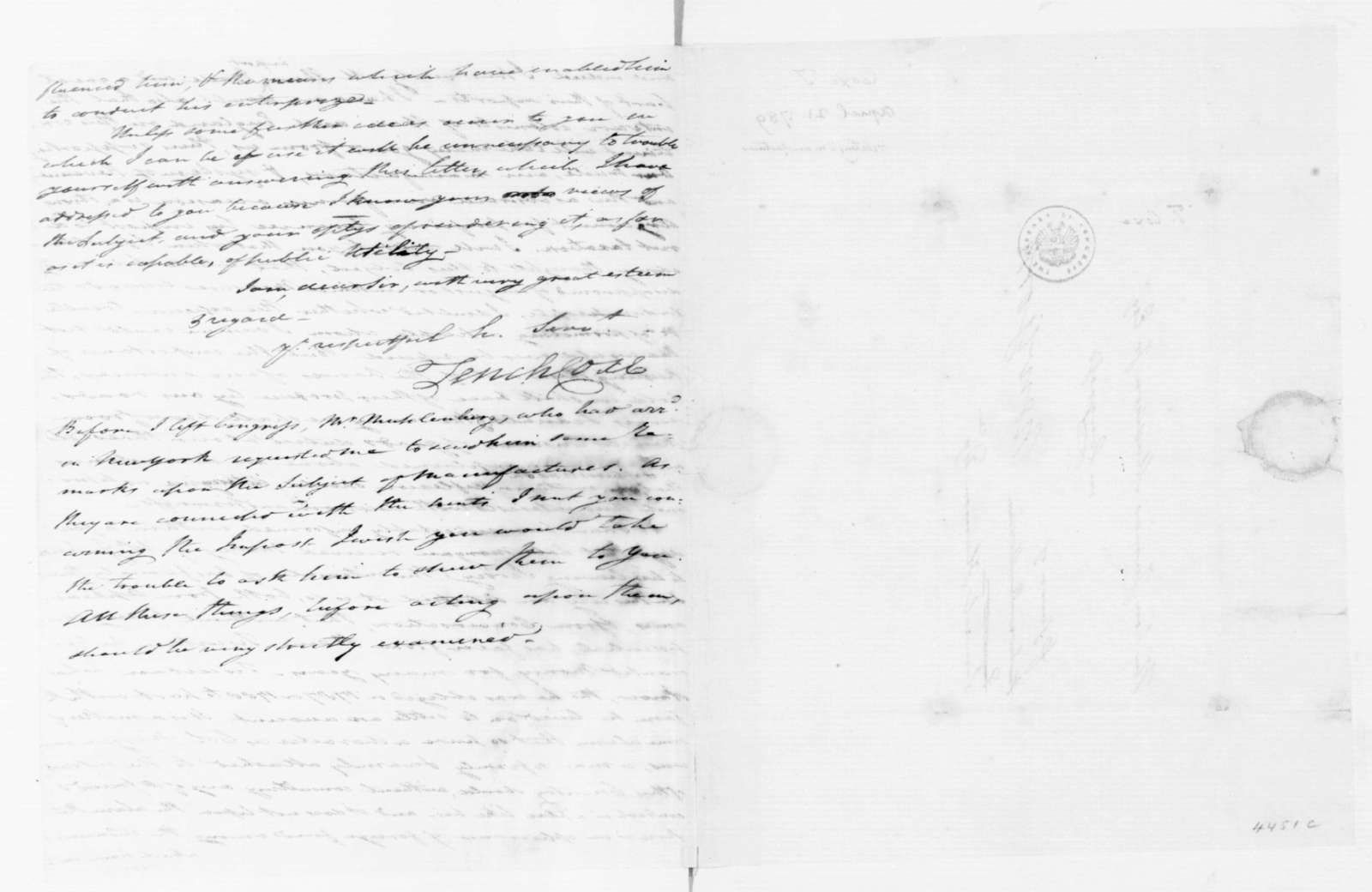 Tench Coxe to James Madison, April 21, 1789.