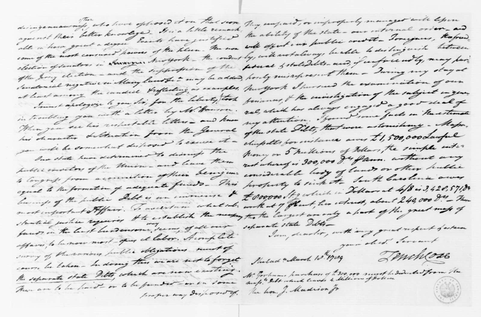 Tench Coxe to James Madison, March 18, 1789.