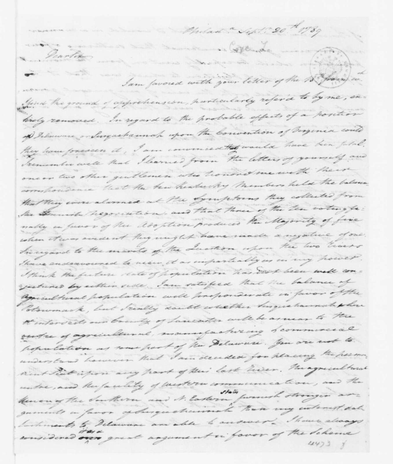 Tench Coxe to James Madison, September 18, 1789.