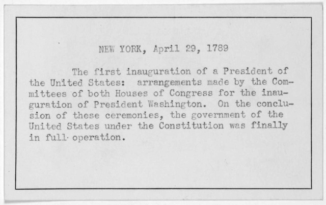 The committees of both houses of Congress, appointed to take order for conducting the ceremonial of the formal receptions, &c, of the President of the United States, on Thursday next have agreed to the following orders thereon, viz ... April 29t
