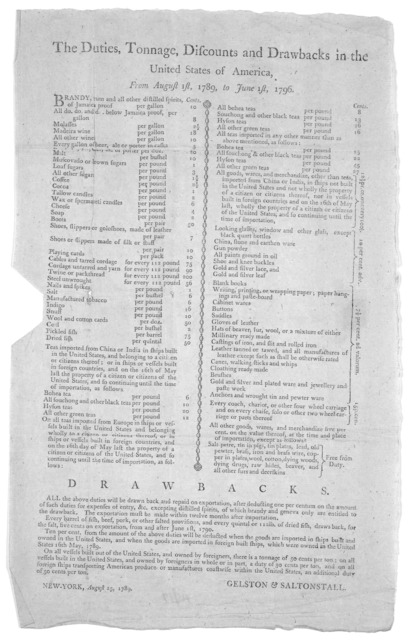 The duties, tonnage, discounts and drawbacks in the United States of America, from August 1st, 1789 to June 1st, 1796 ... New York, August 25, 1789.