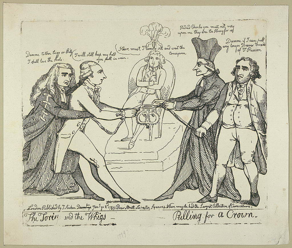 The Tories and the Whigs pulling for a crown