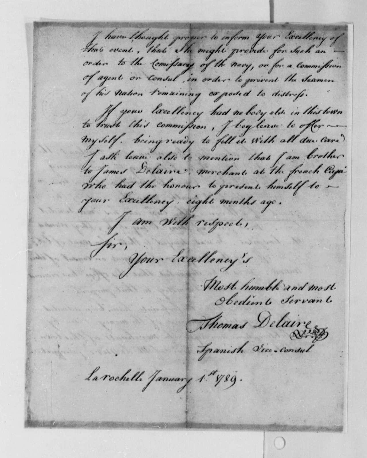 Thomas Delaire to Thomas Jefferson, January 1, 1789