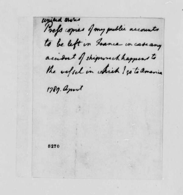 Thomas Jefferson, April 1789, Note on Letterpress Copies of Public Accounts in France