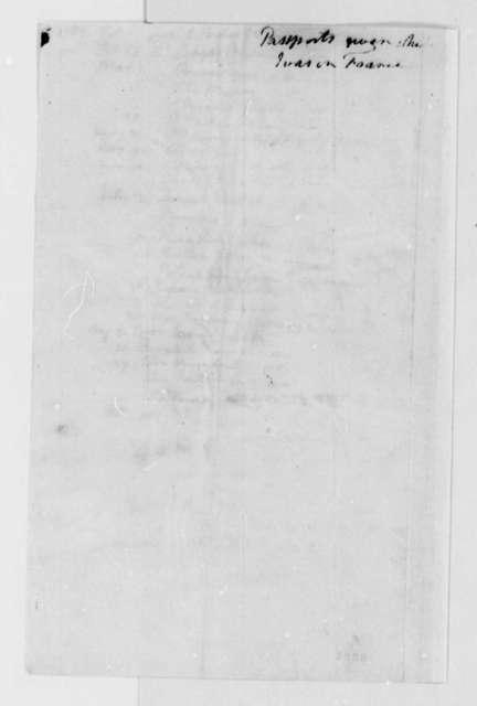 Thomas Jefferson, August 29, 1789, List of Recipients of Passports