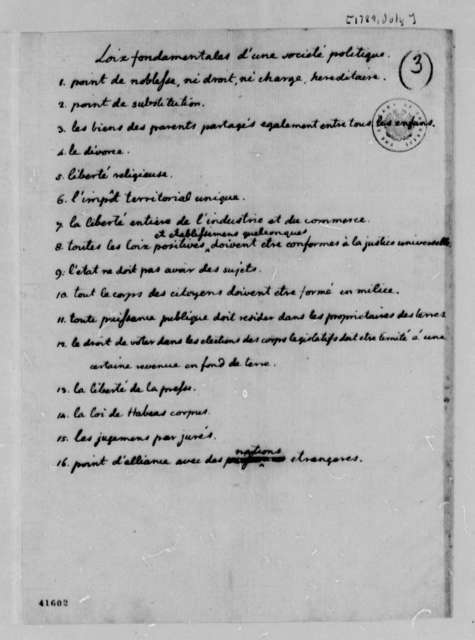 Thomas Jefferson, July 1789, Fragment of Notes on Laws in the French First Republic, in French