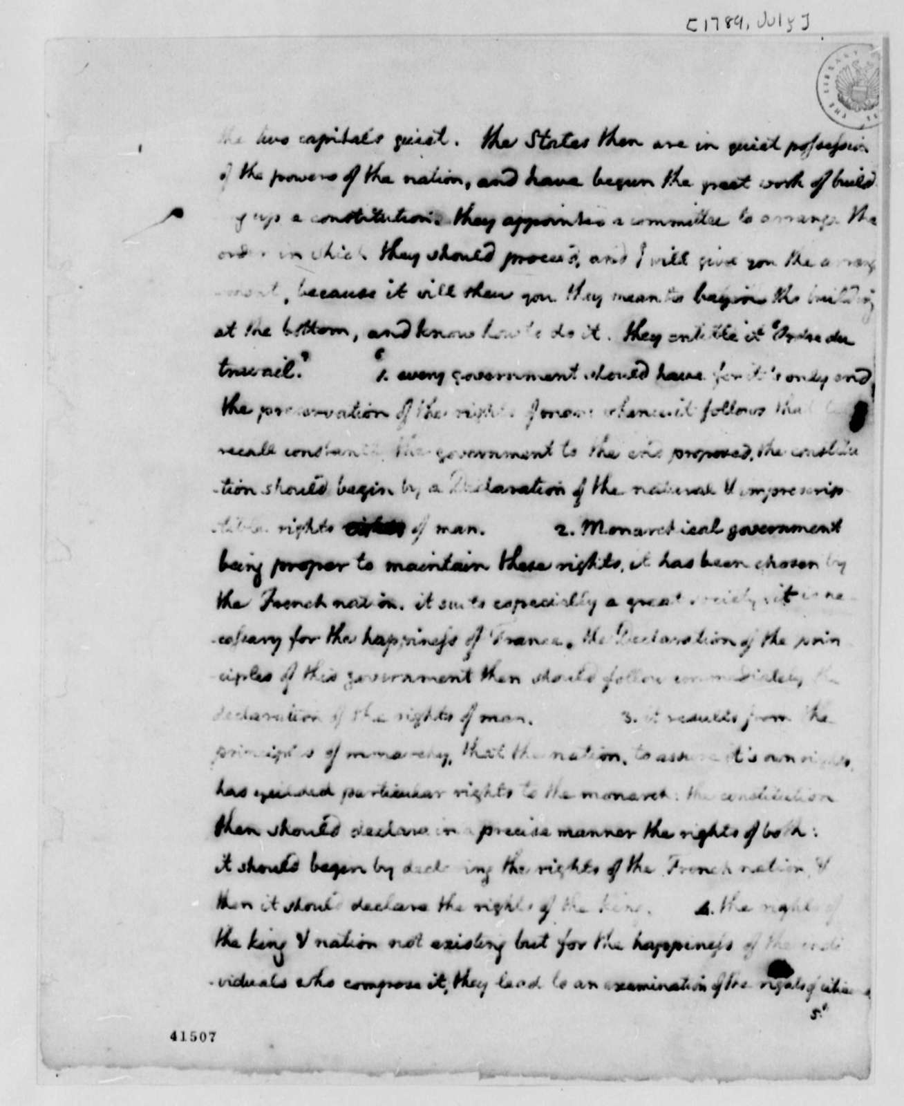 Thomas Jefferson, July 1789, Notes on French First Republic, Fragment