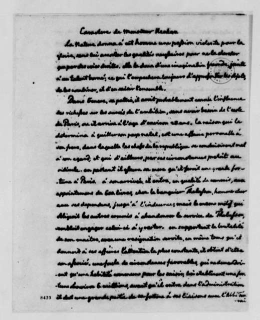 Thomas Jefferson, June 17, 1789, Character of Monsieur Necker, in French, with Note in English