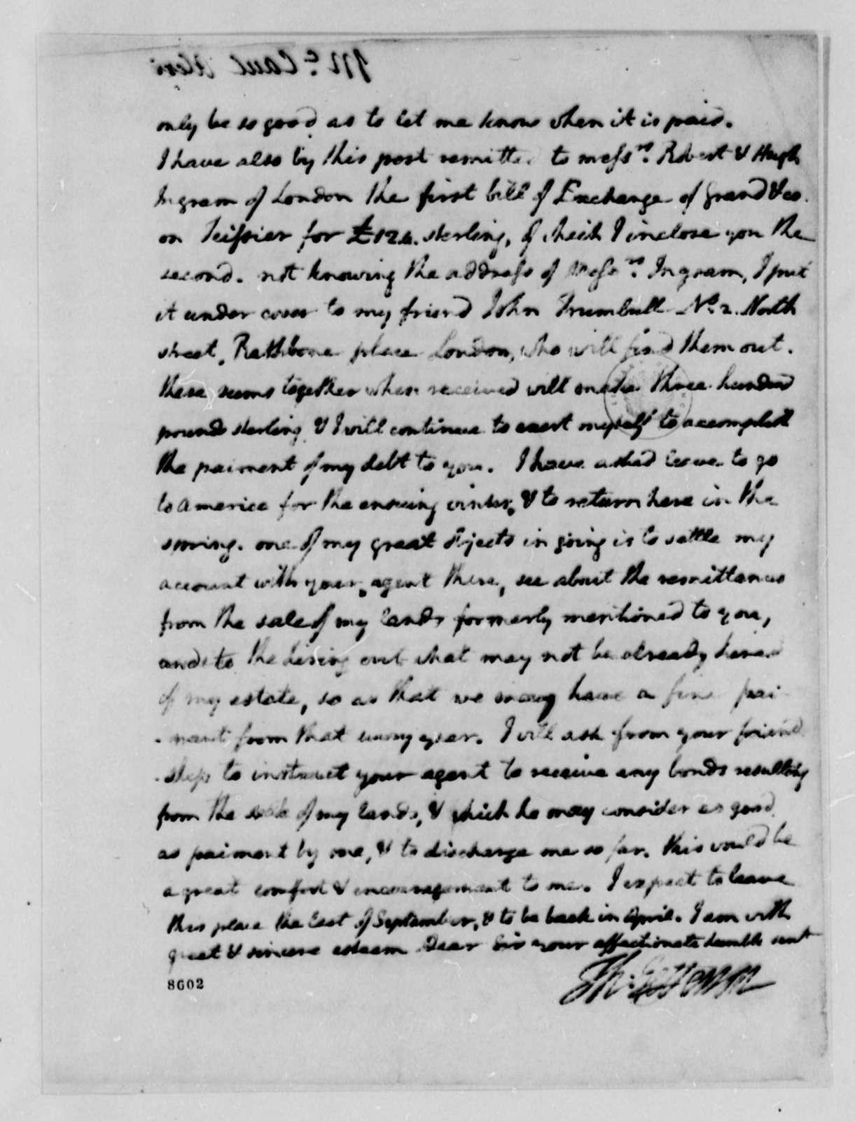 Thomas Jefferson to Alexander McCaul, August 3, 1789