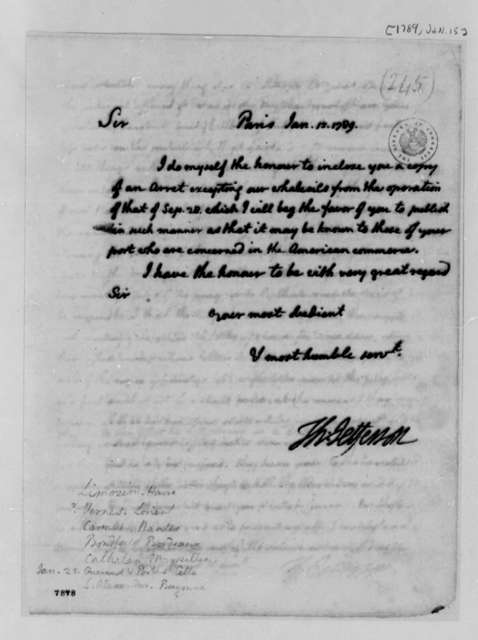 Thomas Jefferson to American Consuls in France, January 15, 1789, Circular Letter on Whale Oil Trade