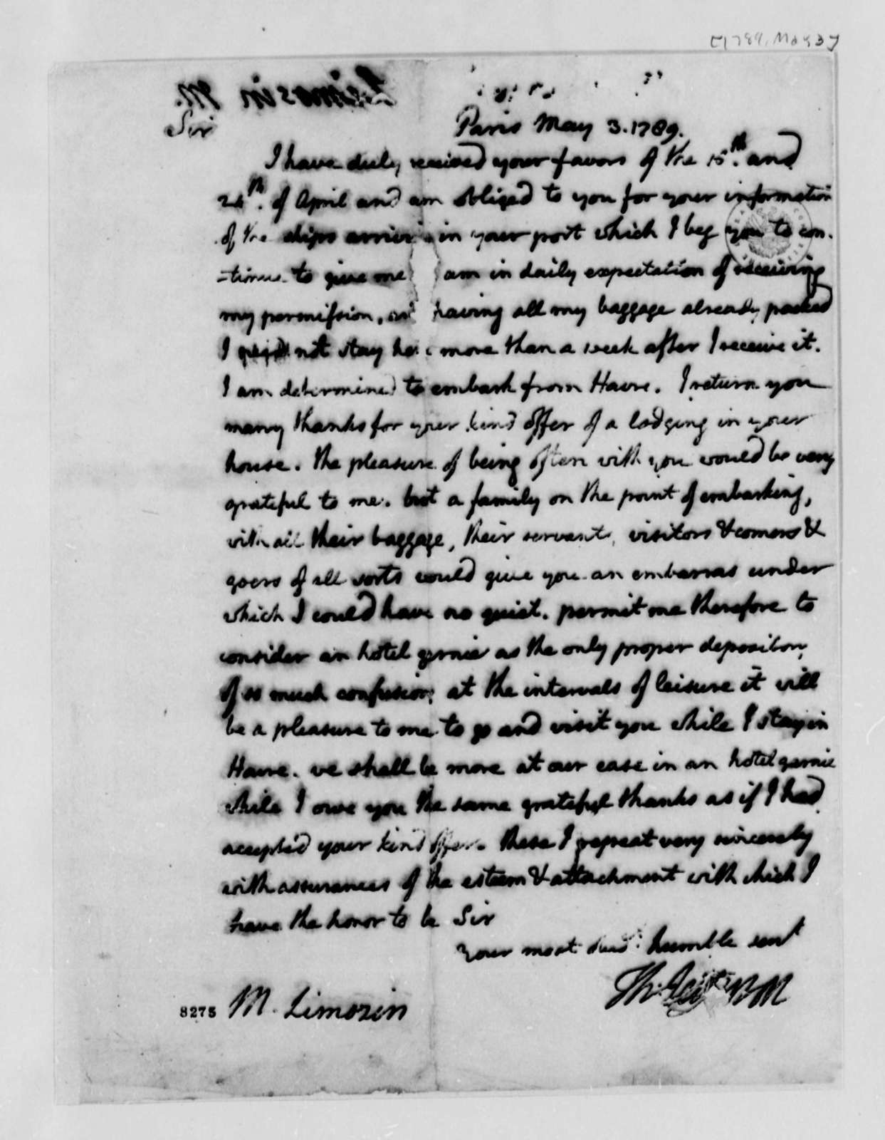 Thomas Jefferson to Andre Limozin, May 3, 1789