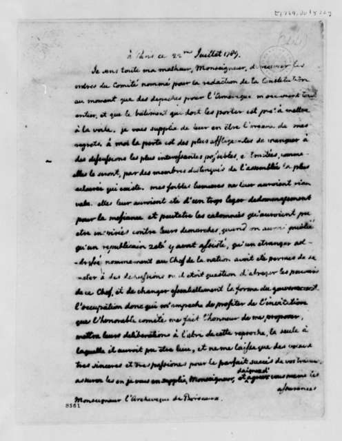 Thomas Jefferson to Archbishop Bordeaux, July 22, 1789, in French