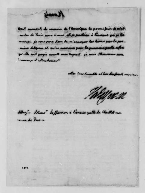 Thomas Jefferson to Armand Koenig, June 29, 1789, in French