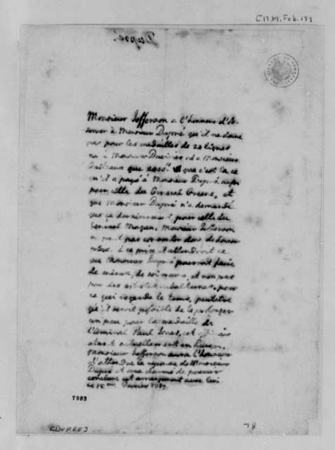 Thomas Jefferson to Augustin Dupre, February 15, 1789, in French
