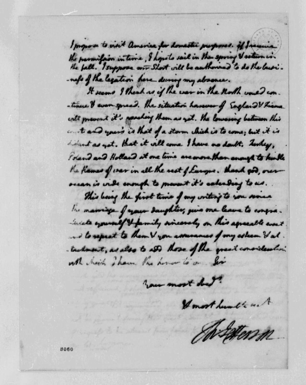 Thomas Jefferson to Charles William Frederic Dumas, March 8, 1789