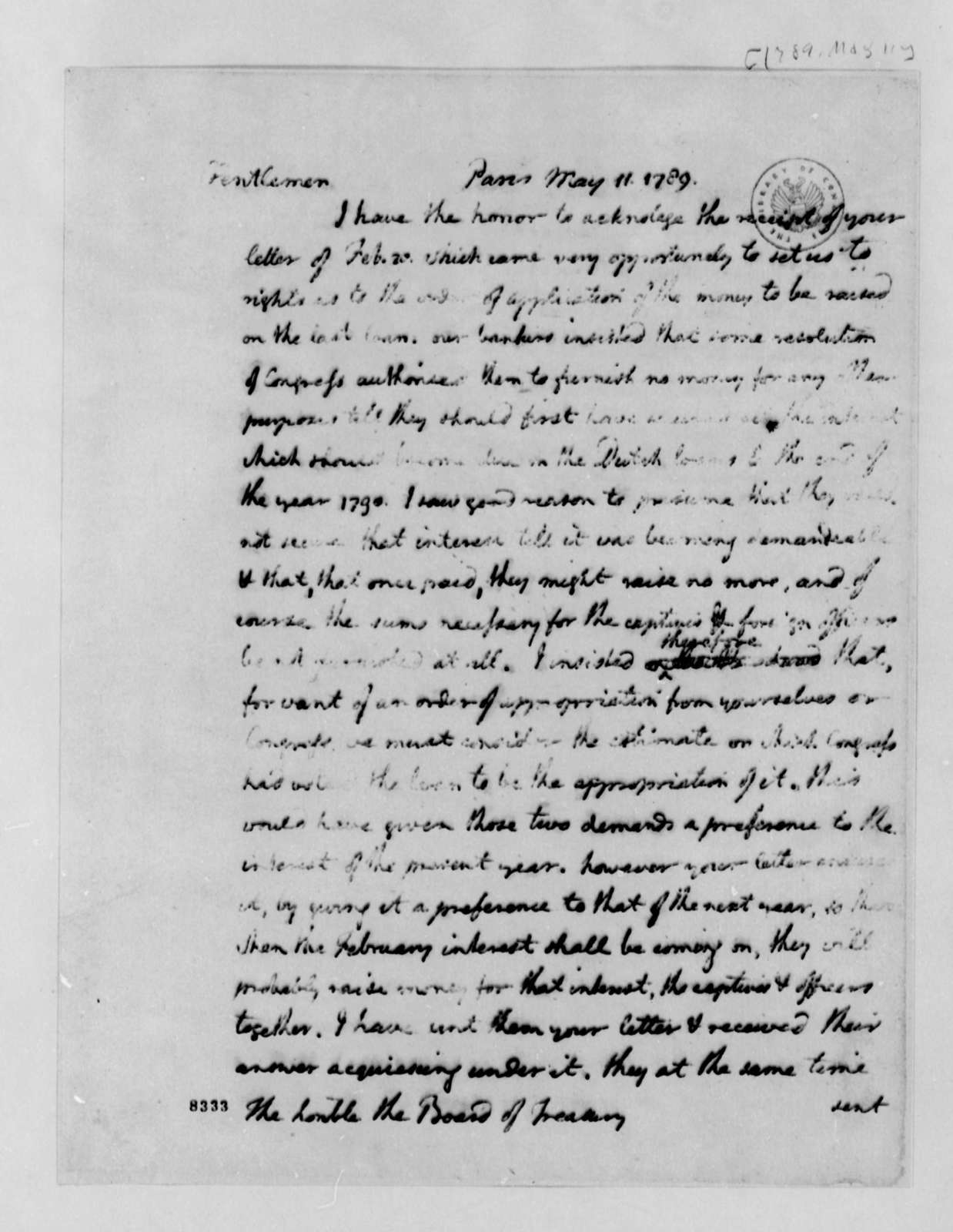 Thomas Jefferson to Commissioners of the Treasury, May 11, 1789
