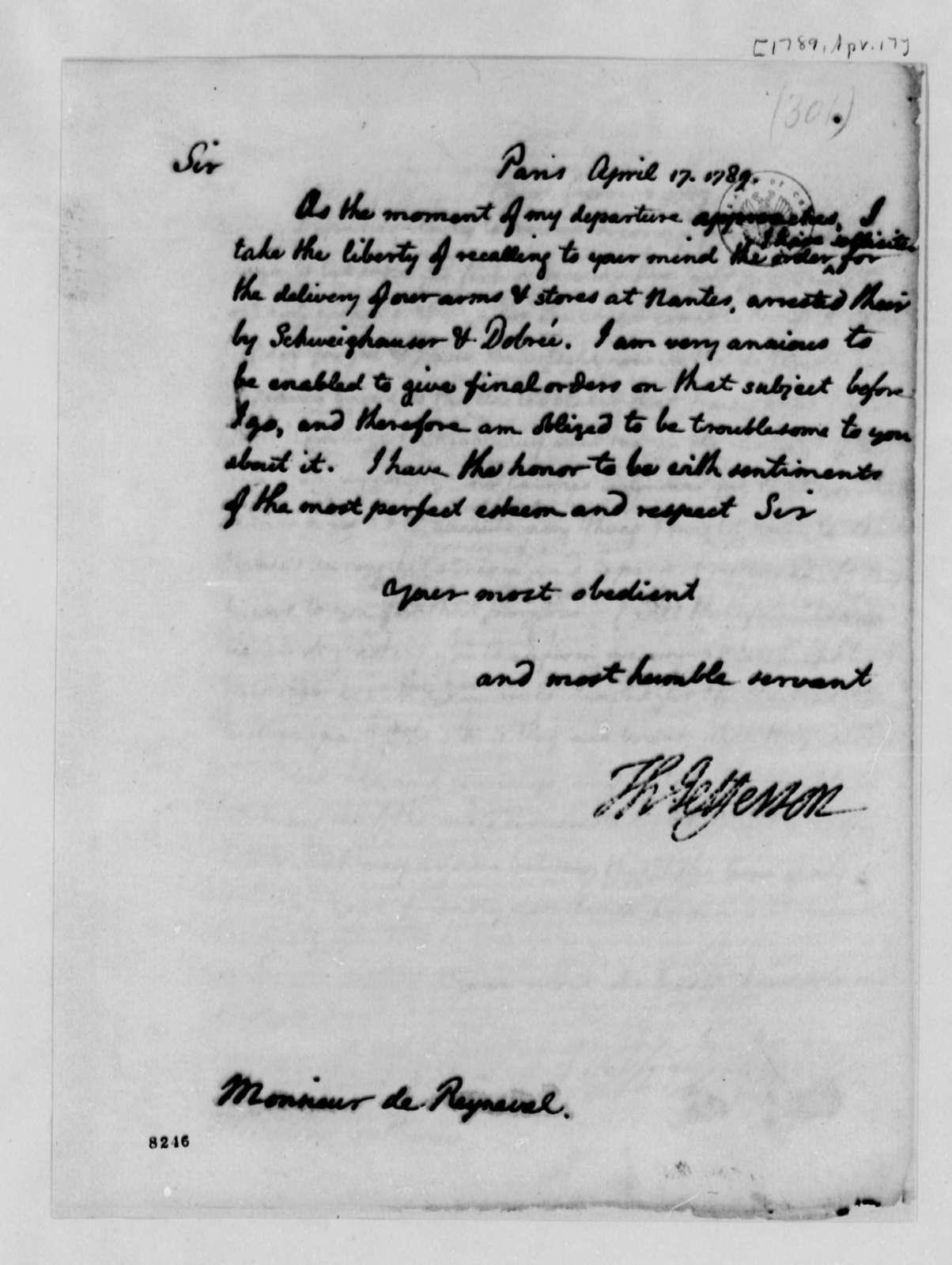 Thomas Jefferson to Conrad Alexandre Gerard de Rayneval, April 17, 1789