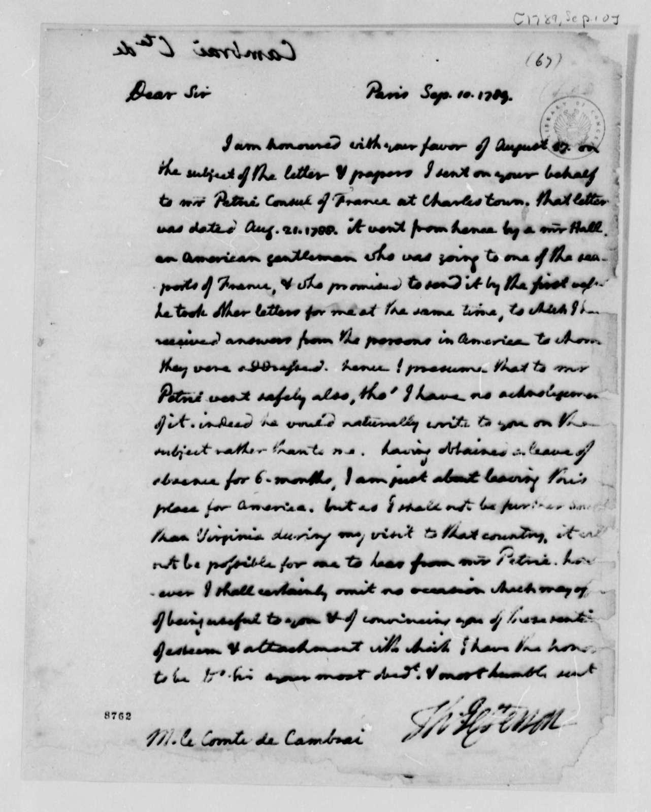Thomas Jefferson to Count de Cambray, September 10, 1789