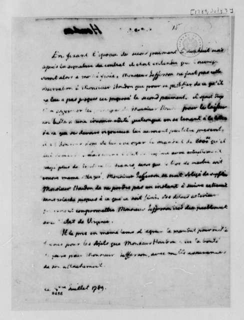 Thomas Jefferson to Count de Cassini, July 3, 1789