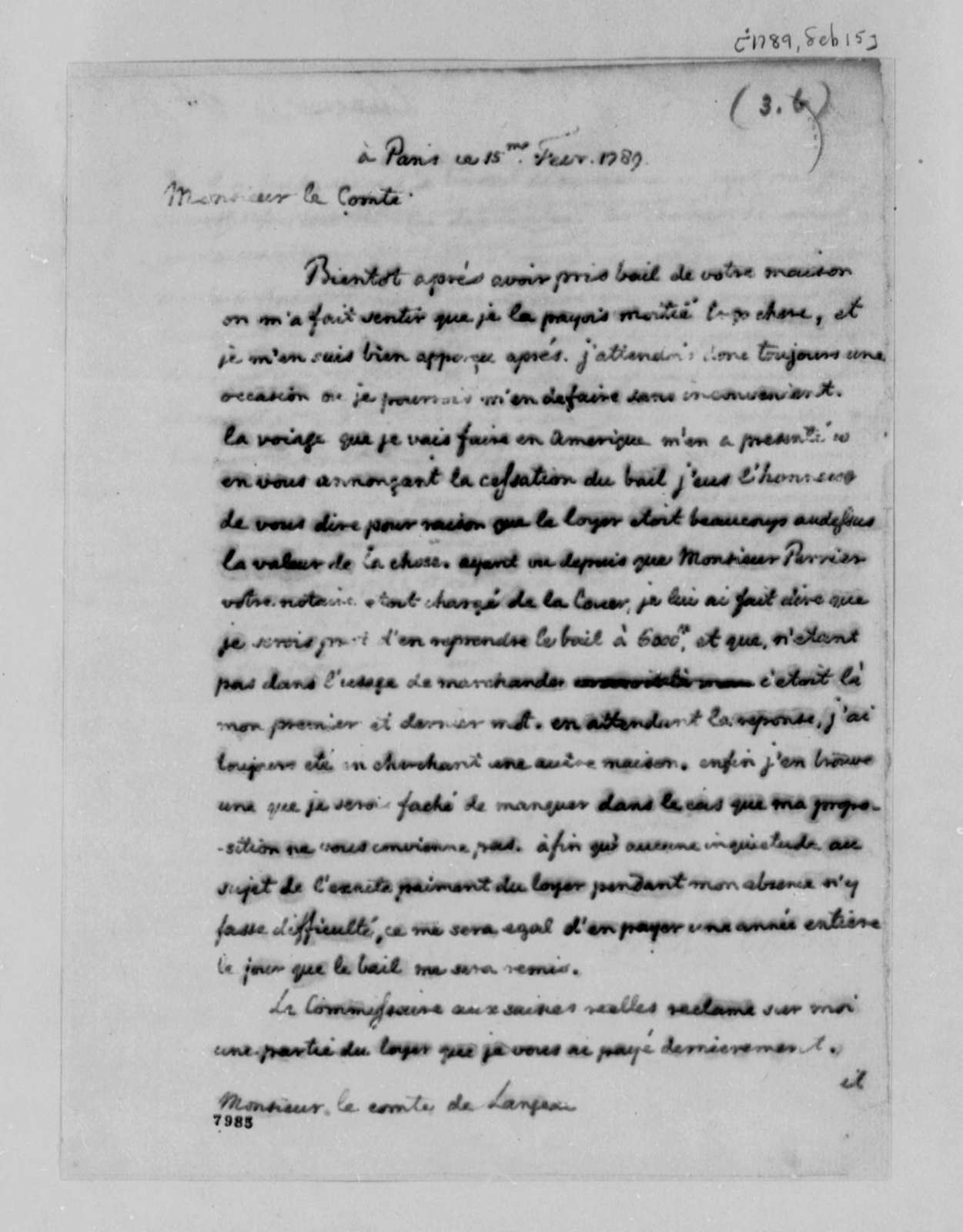 Thomas Jefferson to Count de Langeac, February 15, 1789, in French
