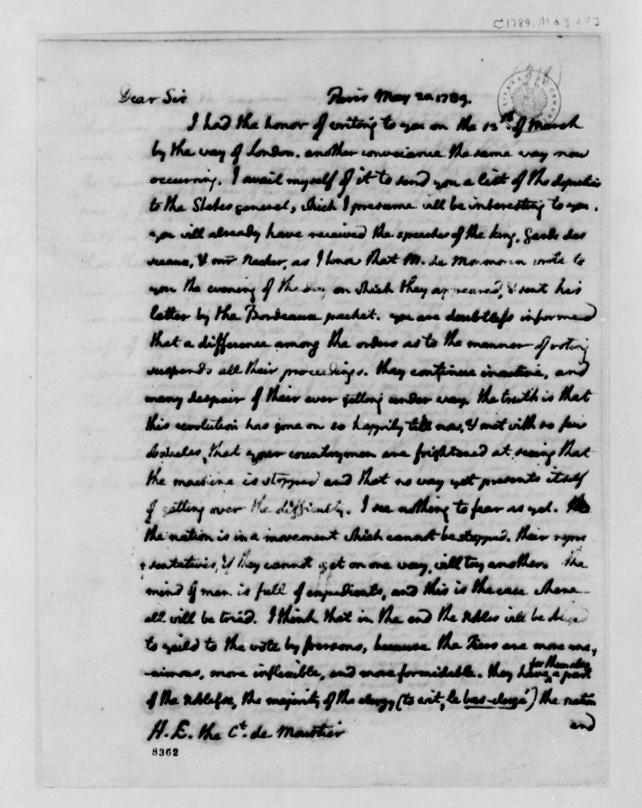 Thomas Jefferson to Count de Moustier, May 20, 1789