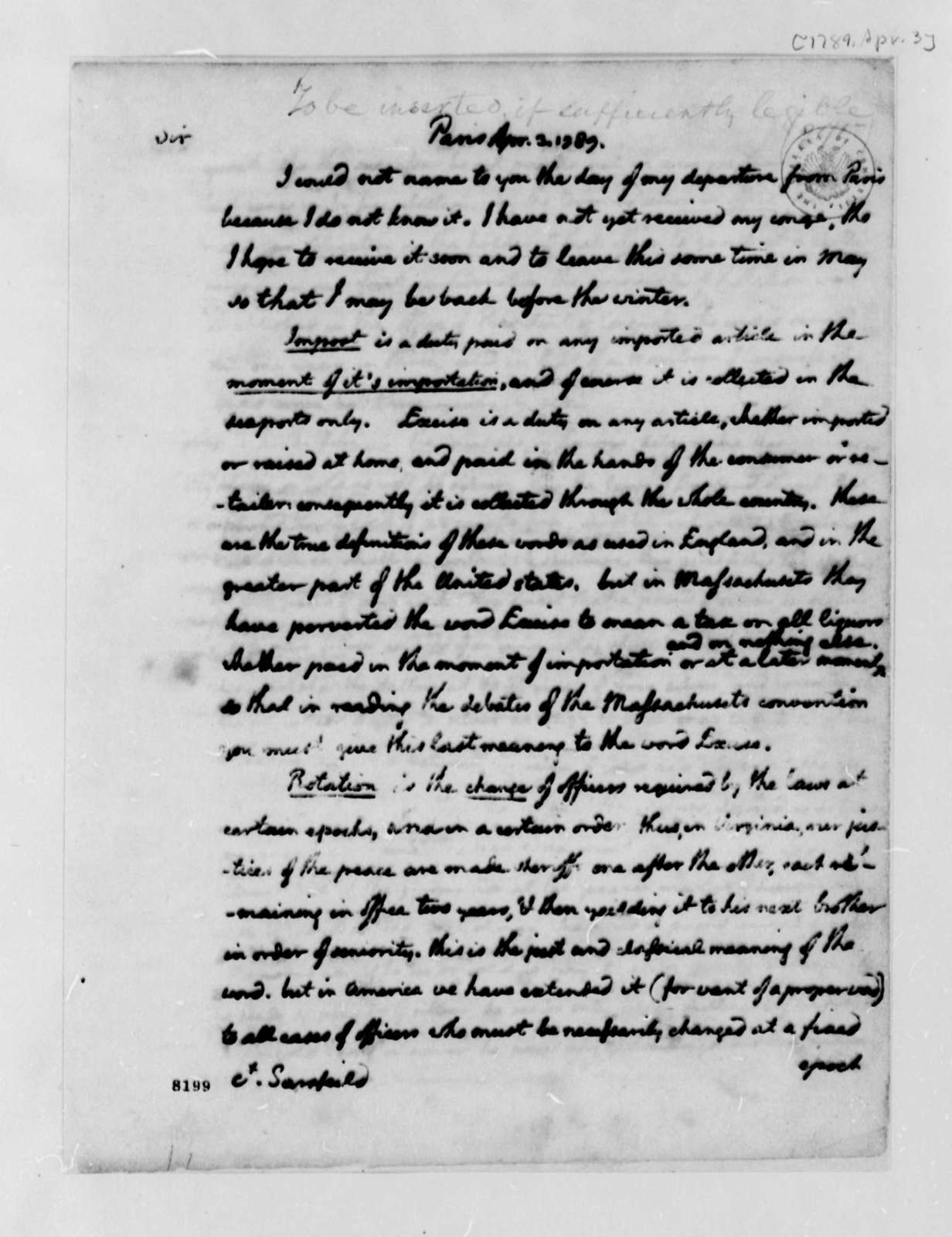 Thomas Jefferson to Count Sarsfield, April 3, 1789