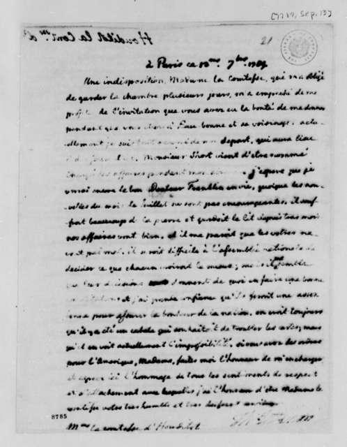 Thomas Jefferson to Countess D'Houdetot, September 13, 1789