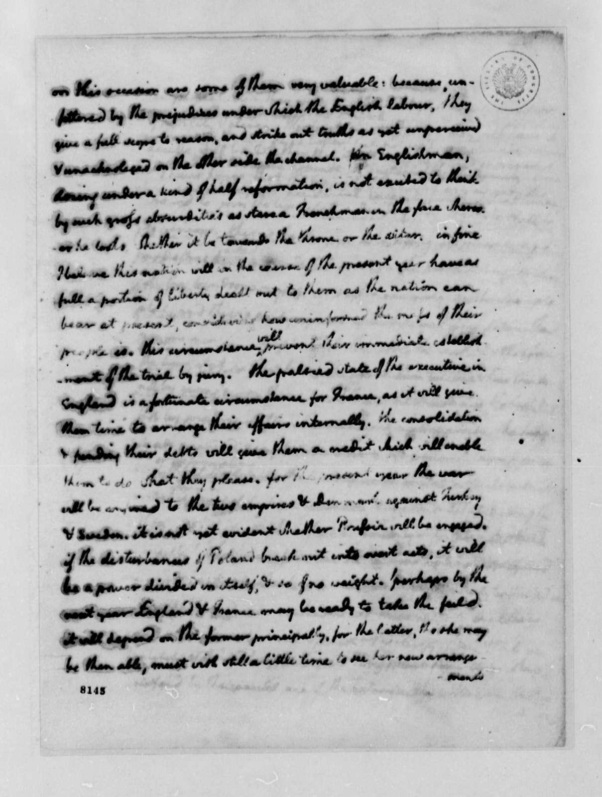 Thomas Jefferson to David Humphreys, March 18, 1789