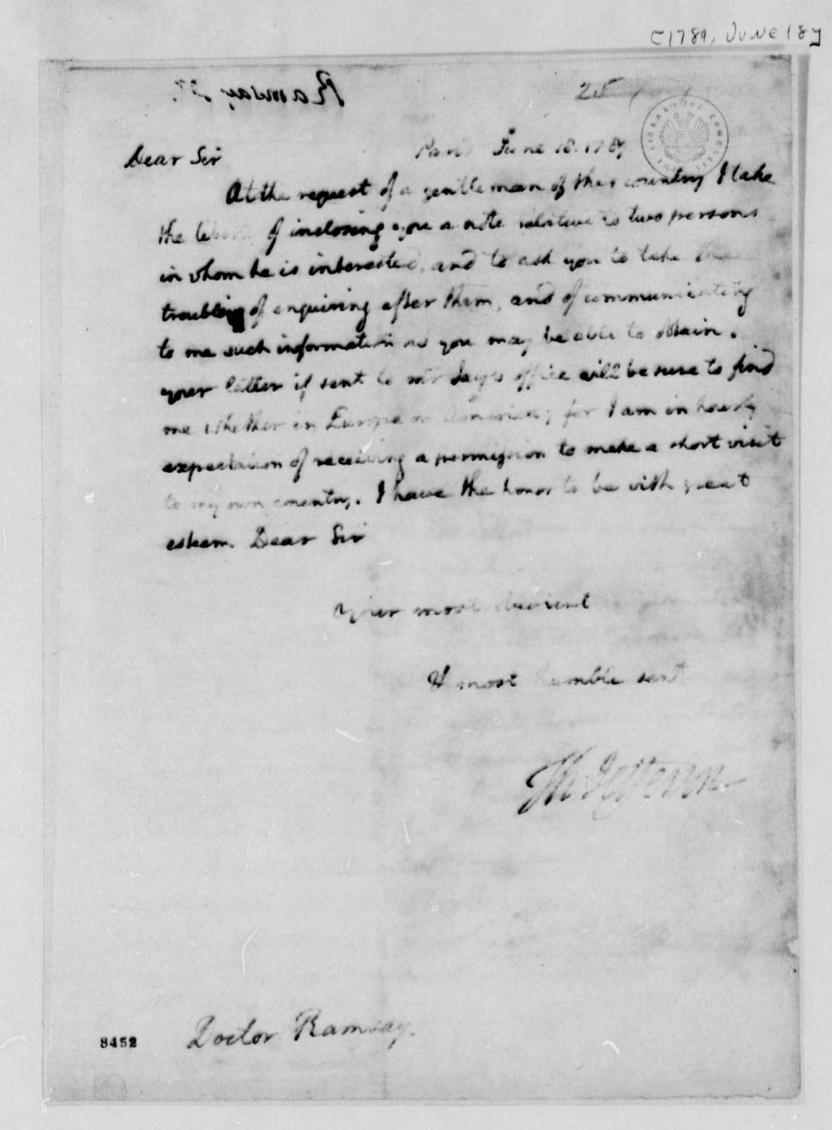 Thomas Jefferson to David Ramsay, June 18, 1789
